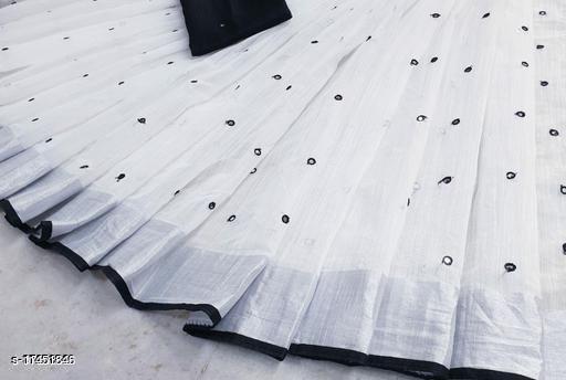 Trendy Women's Beautiful embroidery & mirror work linen saree