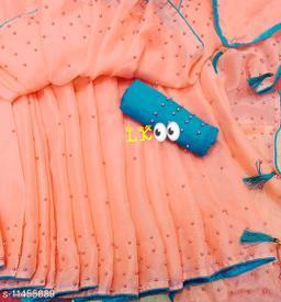 Pure Georgette Peach Color Rebbit Moti Work saree With Blouse Piece