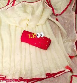 Pure Georgette White Color Rebbit Moti Work saree With Blouse Piece
