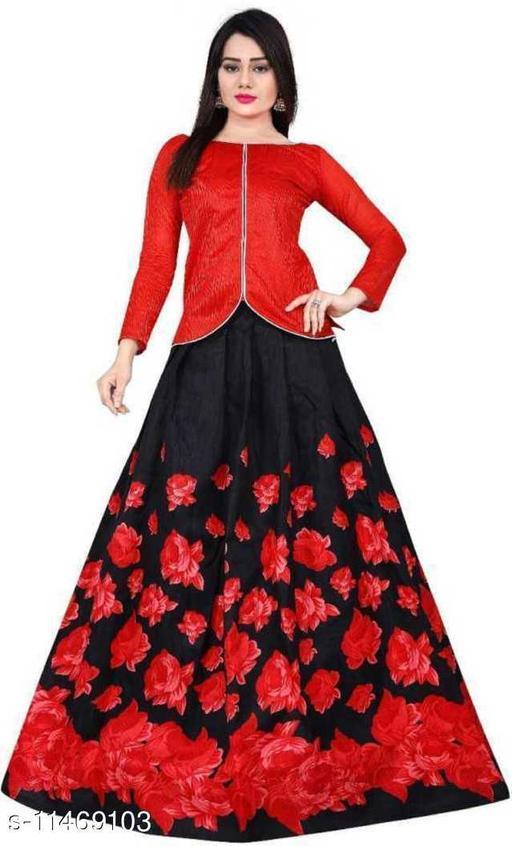 Women Printed Lehenga & Crop Top(Red, Black)