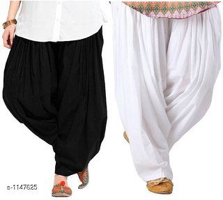 Attractive Solid Cotton Women's Patiala (Pack of 2)