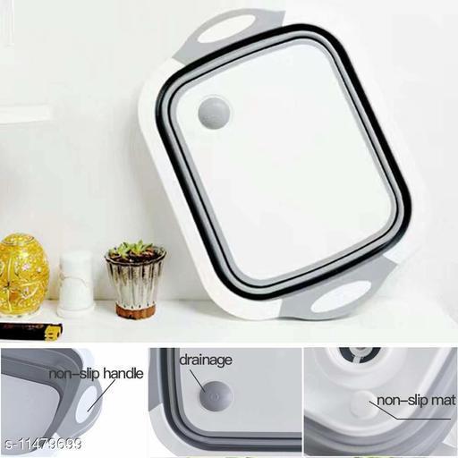 Cutting Board with Colander, Kitchen Plastic Silicone Dish Tub/Drying Rack/Vegetable Storage Basket Multifunction Kitchen Kit