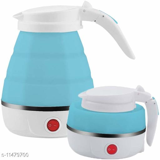 100-240V Large Lightweight Portable Foldable Electric Silicone Collapsible Tea Kettle (Multicolor, 600 ml)