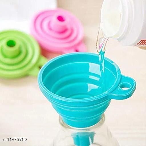 2 Pc Silicone Funnels Food Grade Silicone Mini Foldable Rubber Funnel