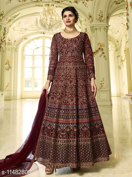 Designer Peach Embroidered Long Anarkali Suit With Heavy Dupatta