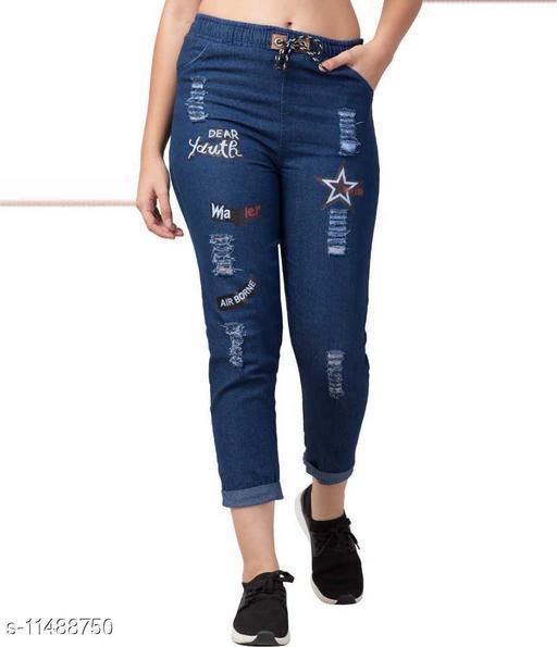 Rishu Design D blue solid denim joggers