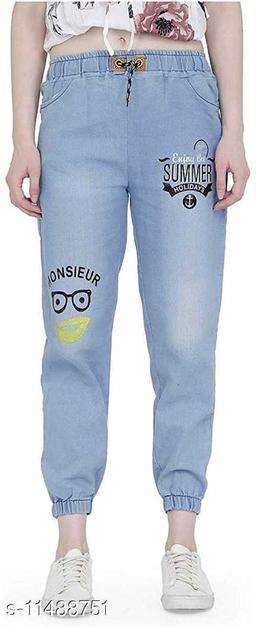 Rishu Design lt blue solid denim joggers