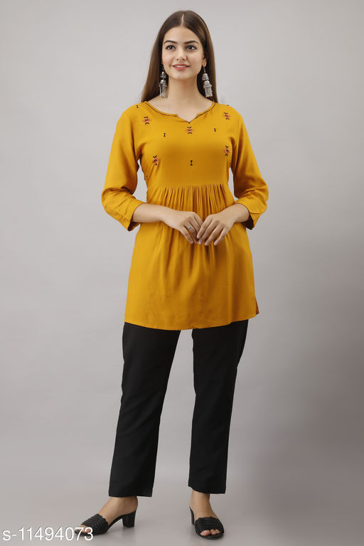 Rayon Mustard Embroidered Tunic for women