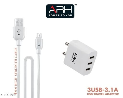 ARH 3.1A Mobile Fast Charger 3USB 3.1A with 4mm Micro USB Cable