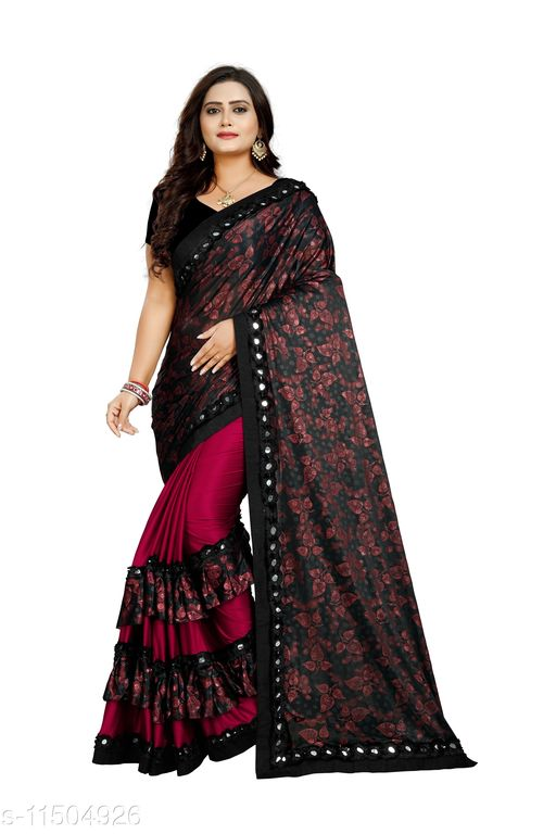 Floral print bollywood silk blend saree