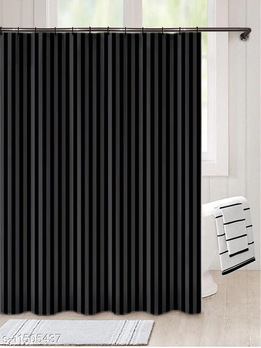 """Lushomes Thick striped water repellent Black Shower Bathroom Curtain with 12 eyelets and 12 C-hooks (72"""" x 80"""" or 180 x 200 cms)"""