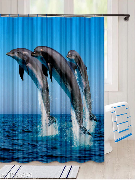 Lushomes Water Repellent Dolphins Digital Printed Bathroom Shower curtain with 12 Plastic eyelets and 12 hooks (Single pc,  72' x 80', 180 x 200 cms)