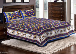 Jaipuri Sanganeri Printed Cotton Double Bedsheet