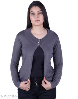 Ogarti woollen full sleeve round neck St Grey Colour Women's  Shrug