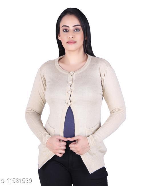 Ogarti woollen full sleeve round neck Skin Colour Women's  Shrug