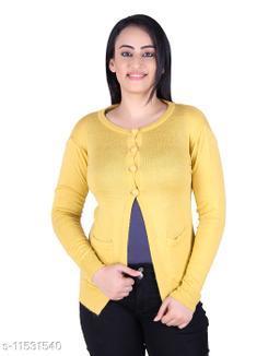 Ogarti woollen full sleeve round neck Mustard Colour Women's  Shrug