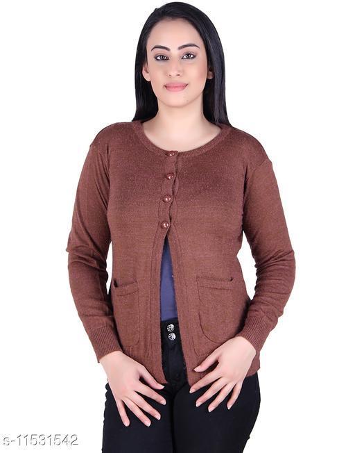 Ogarti woollen full sleeve round neck Dk Camel Colour Women's  Shrug