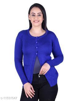 Ogarti woollen full sleeve round neck Royal Blue Colour Women's  Shrug