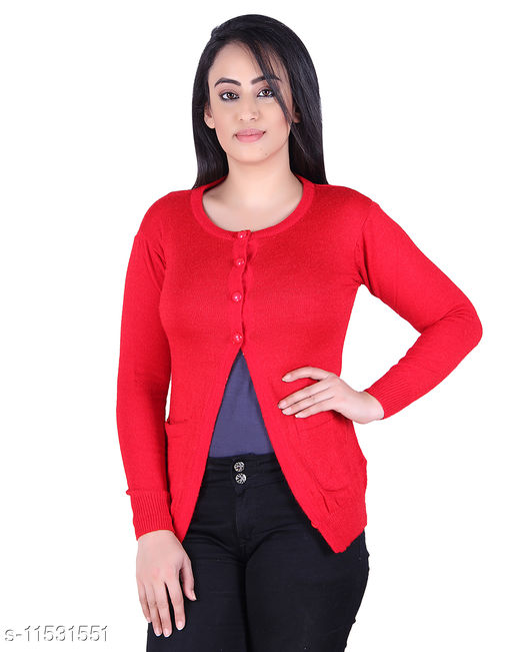 Ogarti woollen full sleeve round neck Red Colour Women's  Shrug