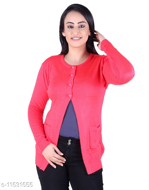 Ogarti woollen full sleeve round neck Gajri Colour Women's  Shrug