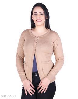Ogarti woollen full sleeve round neck Camel Colour Women's  Shrug
