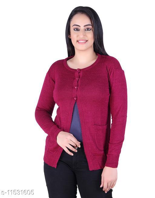Ogarti woollen full sleeve round neck Magenta Colour Women's  Shrug
