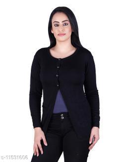 Ogarti woollen full sleeve round neck Black Colour Women's  Shrug
