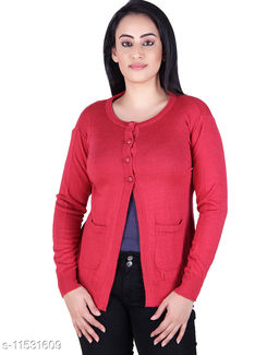 Ogarti woollen full sleeve round neck Coral Colour Women's  Shrug