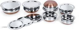 LIMETRO STEEL Stainless Steel Set of 6 Copper Bottom Prabhu Chetty / Cookware / Serveware / Handi / POT / Cook & Serve Handi Handi 9 L with Lid  (Steel, Induction Bottom)
