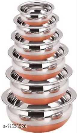 LIMETRO STEEL Copper Bottom Handi Pot 6 Piece Set/Steel Handi Set 6 Piece Set/Cookware Chetty Combo Serving Handi Cookware Multi Purpose Handi 1 L  (Steel, Non-stick)