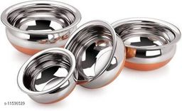 LIMETRO STEEL Stainless Steel Copper 4-Piece Handi Pot Set(Multicolour, 500ml, 750ml, 1000ml, 1250ml, and 1500ml) Cookware Set  (Stainless Steel, 4 - Piece)