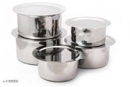 LIMETRO STEEL Stainless steel High Quality Heavy (22)Gauge Set of 5 Cookware Set  (Stainless Steel, 5 - Piece)