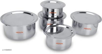 LIMETRO STEEL Stainless Steel Flat Bottom 22 Gauge 5 pcs Tope Set With Lid Cookware Set  (Stainless Steel, 5 - Piece)