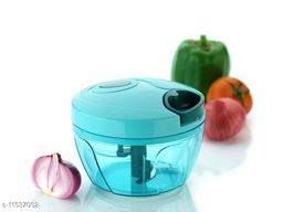 Handy Mini Plastic Chopper with 3 Blades, Vegetable and Fruit Cutter -Multicolour