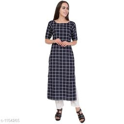 Printed Navy Blue Calf-Length Crepe Dress