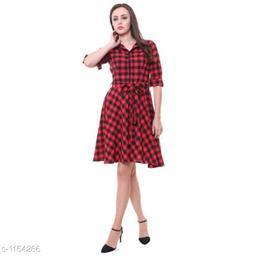 Women's Printed Red Crepe Dress