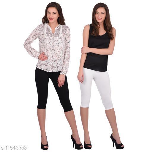 Robinbosky Women Capris Leggings Black And White Value Combo Pack Of 2