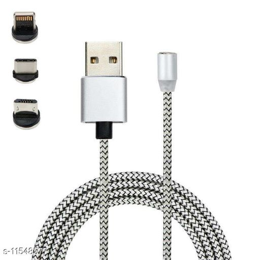 5UY_Magnetic USB Charging Cable, Multi 3-In-1 Cable Charger with LED for Android, All Type C Mobiles and IOS Mobiles Fast Charging Cable Magnet Cables USB Type C Cable Magnetic Lighting