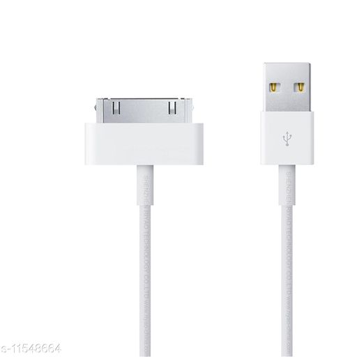 4TF_ USB Sync Charging Charger Cable Flat Cord 1 m Micro USB Cable (Compatible with 4, 4s, iPAD 1, iPAD 2, White, One Cable)