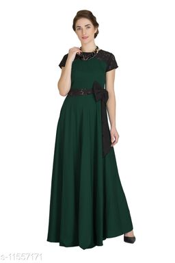 Raas Women's Crepe Dark Green Flared Maxi Gown Dress with Side Bow