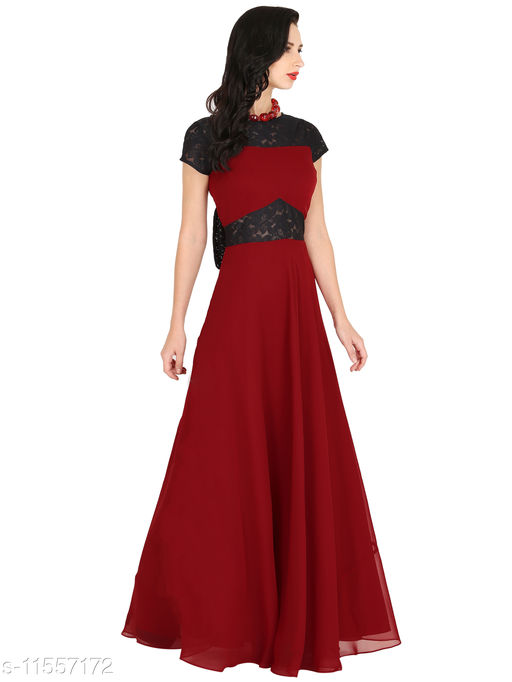 Raas Women's Georgette Maroon with Black Lace Flared Gown