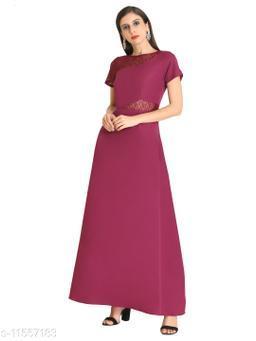 Raas Women's Wine Crepe Sheer Lace Yoke Maxi Dress
