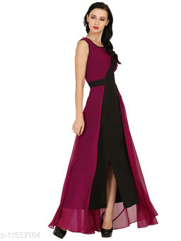 Raas Women's Purple and Black Georgette Maxi Gown Dress