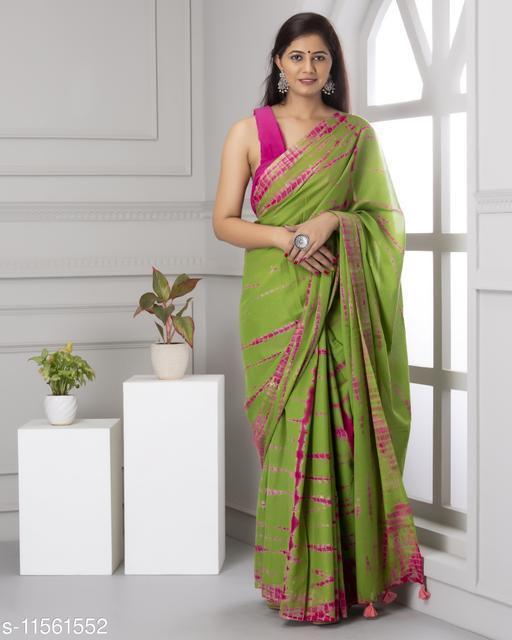 Green & Pink Shibori Print Mul-Cotton Saree