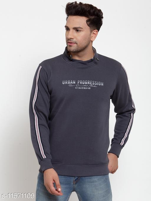 VENITIAN Men Cotton Fleece Scoop Neck Regular Fit Full Sleeve Winter Wear Solid Sweatshirt Charcoal