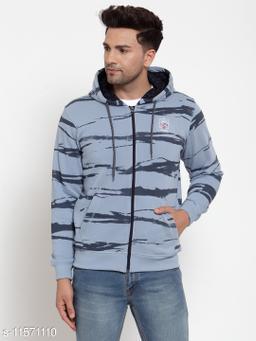 VENITIAN Men Cotton Fleece Hooded Regular Fit Full Sleeve Winter Wear Printed Sweatshirt Lt.Denim