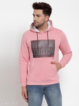 VENITIAN Men Cotton Fleece Hooded Regular Fit Full Sleeve Winter Wear Printed Sweatshirt Lt.Onion