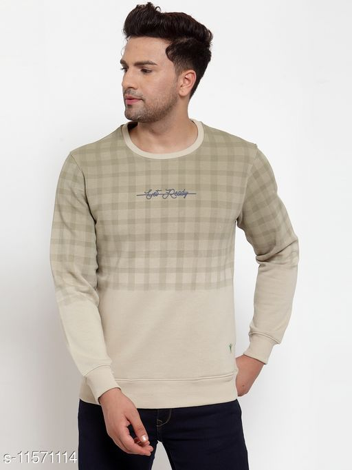 VENITIAN Men Cotton Fleece Round Neck Regular Fit Full Sleeve Winter Wear Striped Sweatshirt Lt.Olive