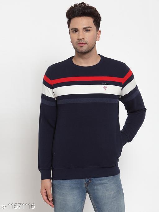 VENITIAN Men Cotton Blend Round Neck Regular Fit Full Sleeve Winter Wear Striped Sweatshirt Navy