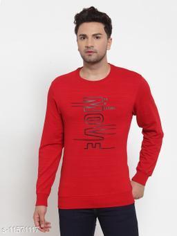 VENITIAN Men Cotton Blend Round Neck Regular Fit Full Sleeve Winter Wear Solid Sweatshirt B.Red